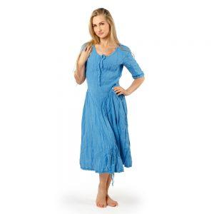Stilinga lino apranga - Suknelė su trijų ketvirčių rankovėmis, šviesiai mėlyna