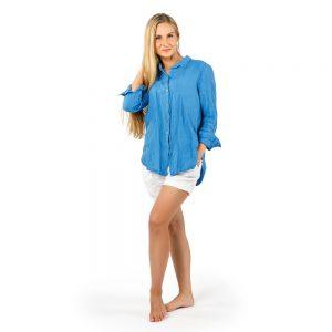 Stilinga lino apranga - Lininiai klasikiniai mėlyni marškiniai, šviesiai mėlyni