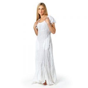 Stilinga lino apranga - Ilga lininė suknelė, balta