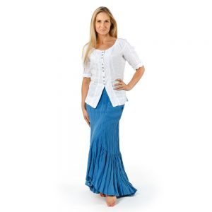 Stilinga lino apranga - Lininė palaidinė su sagutėmis, balta