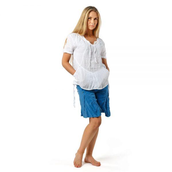 Stilinga lino apranga - Lininė palaidinė su kišenėmis, balta